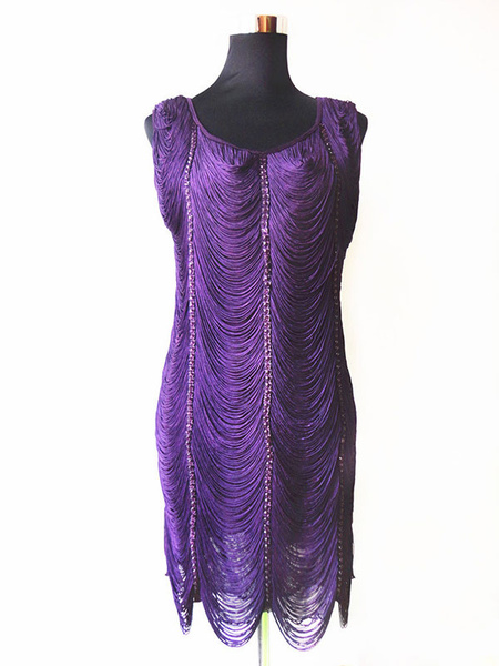Milanoo 1920s Fashion Dress Costume Great Gatsby Flapper Dress With Tassels Royal Blue 20s Party Dress