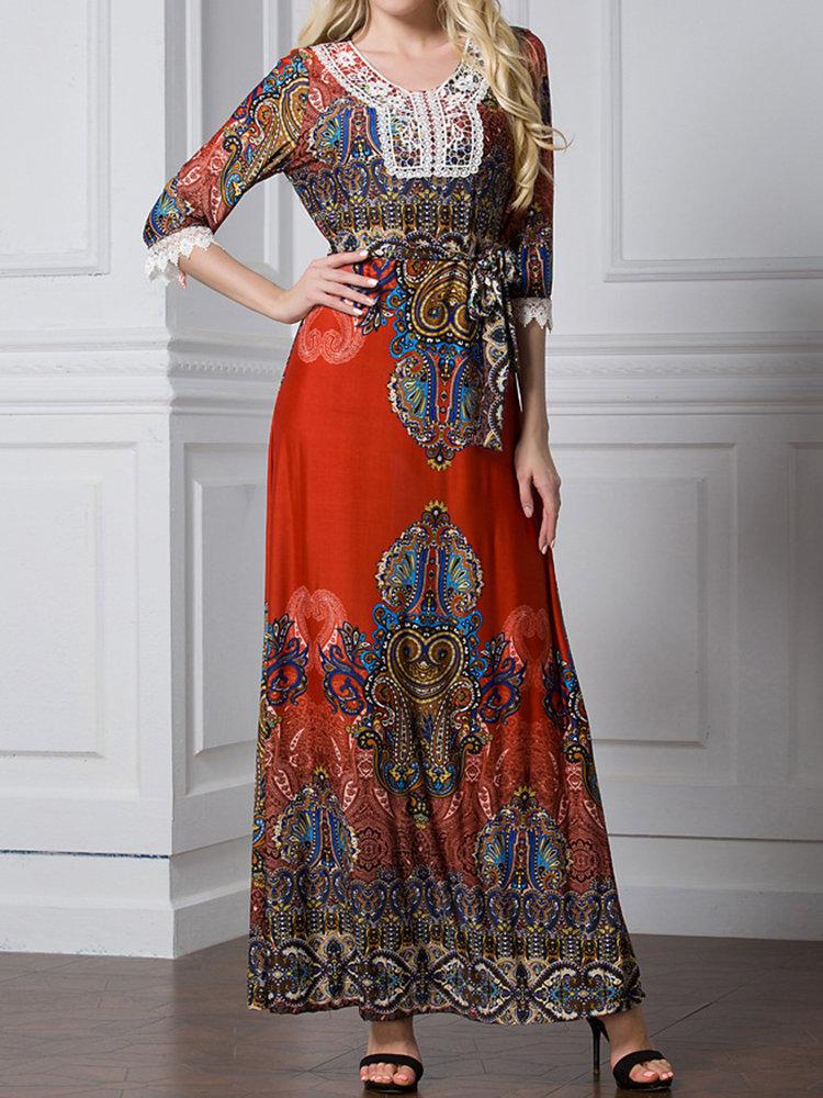 Bohemian Women Print Lace Half Sleeve Maxi Dress