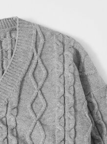 Drop Shoulder Crop Cardigan With Bandeau