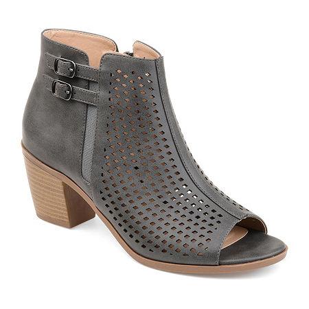 Journee Collection Womens Harlem Booties Stacked Heel, 10 Medium, Gray