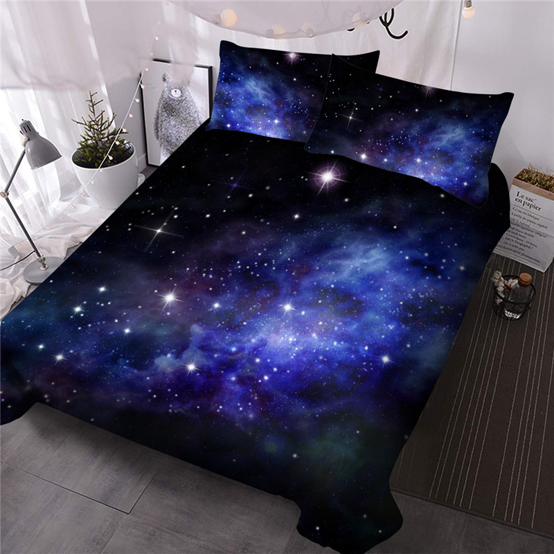 Starry Sky Comforter Set Hand Wash Three-Piece Set Reactive Printing Polyester Bedding Sets