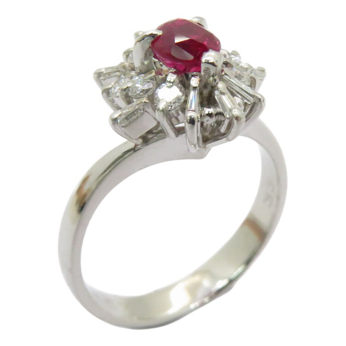 Non Signé / Unsigned Rubis Silver Platinum ring for Women 5 ¼ US