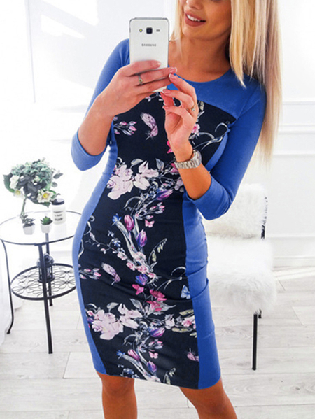 Yoins Floral Print Round Neck Dress