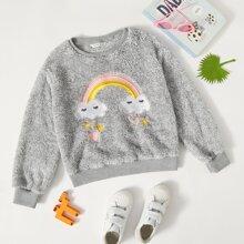 Girls Heart & Cartoon Embroidery Teddy Pullover