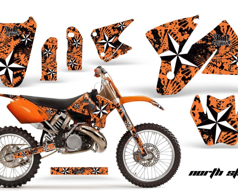 AMR Racing Dirt Bike Decal Graphic Kit Sticker Wrap For KTM SX/XC/EXC/MXC 1998-2001áNORTHSTAR ORANGE