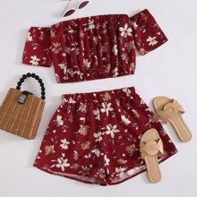 Outfit de dos piezas Floral Burdeos Bohemio