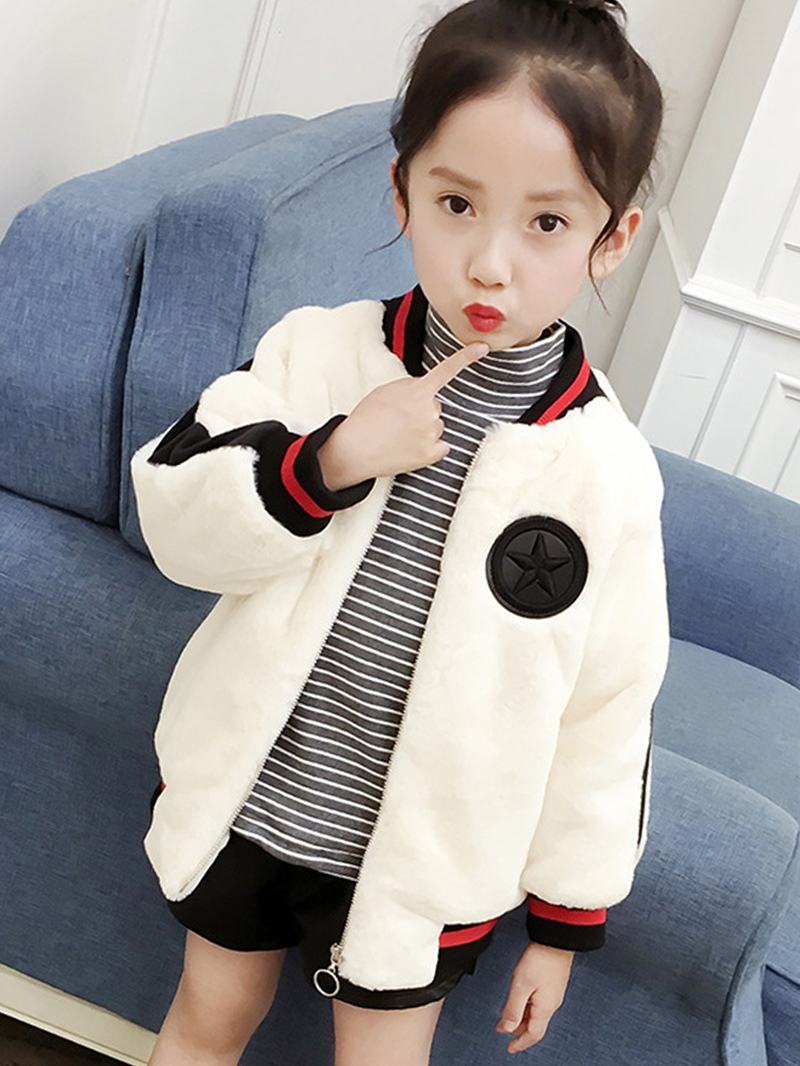 Ericdress Stand Collar Fleece Zipper Girls' Jacket