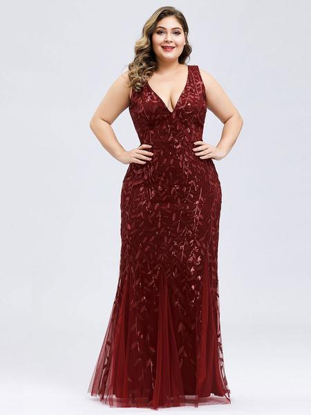 Milanoo Prom Dress V Neck A Line Sleeveless Floor Length Sequins Wedding Guest Dresses