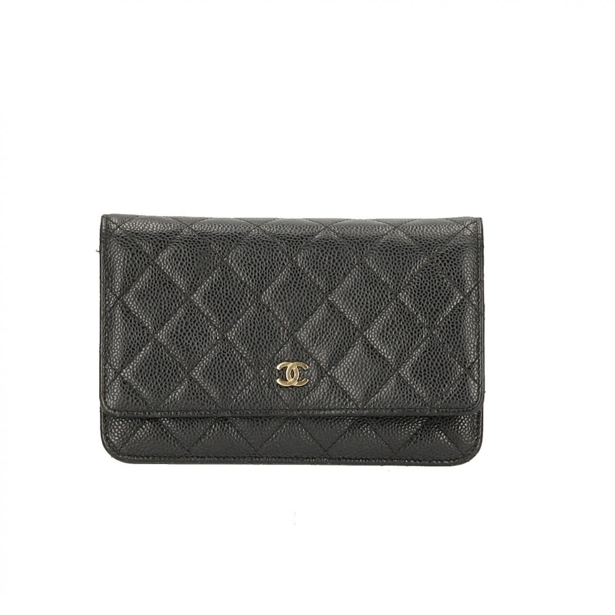 Chanel - Pochette Wallet on Chain pour femme en cuir - noir
