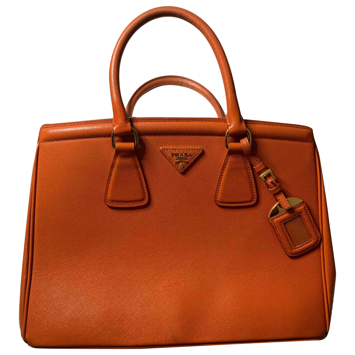 Prada saffiano  Handtasche in  Orange Leder