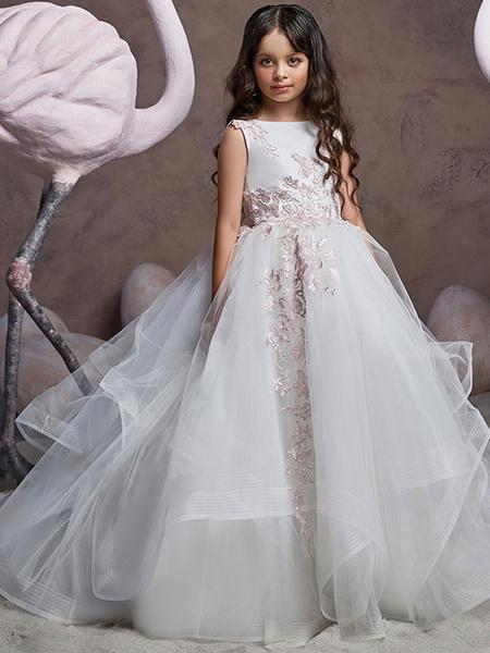 Milanoo Vestidos de niña de flores Cuello joya Tul Sin mangas Barrer Princesa Silueta Vestidos de desfile formales bordados para niños