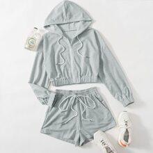 Zip Hoodie & Drawstring Shorts