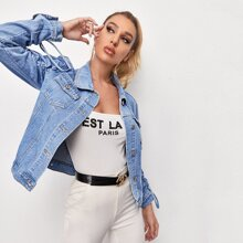 Button Front Ruched Drawstring Knot Denim Jacket