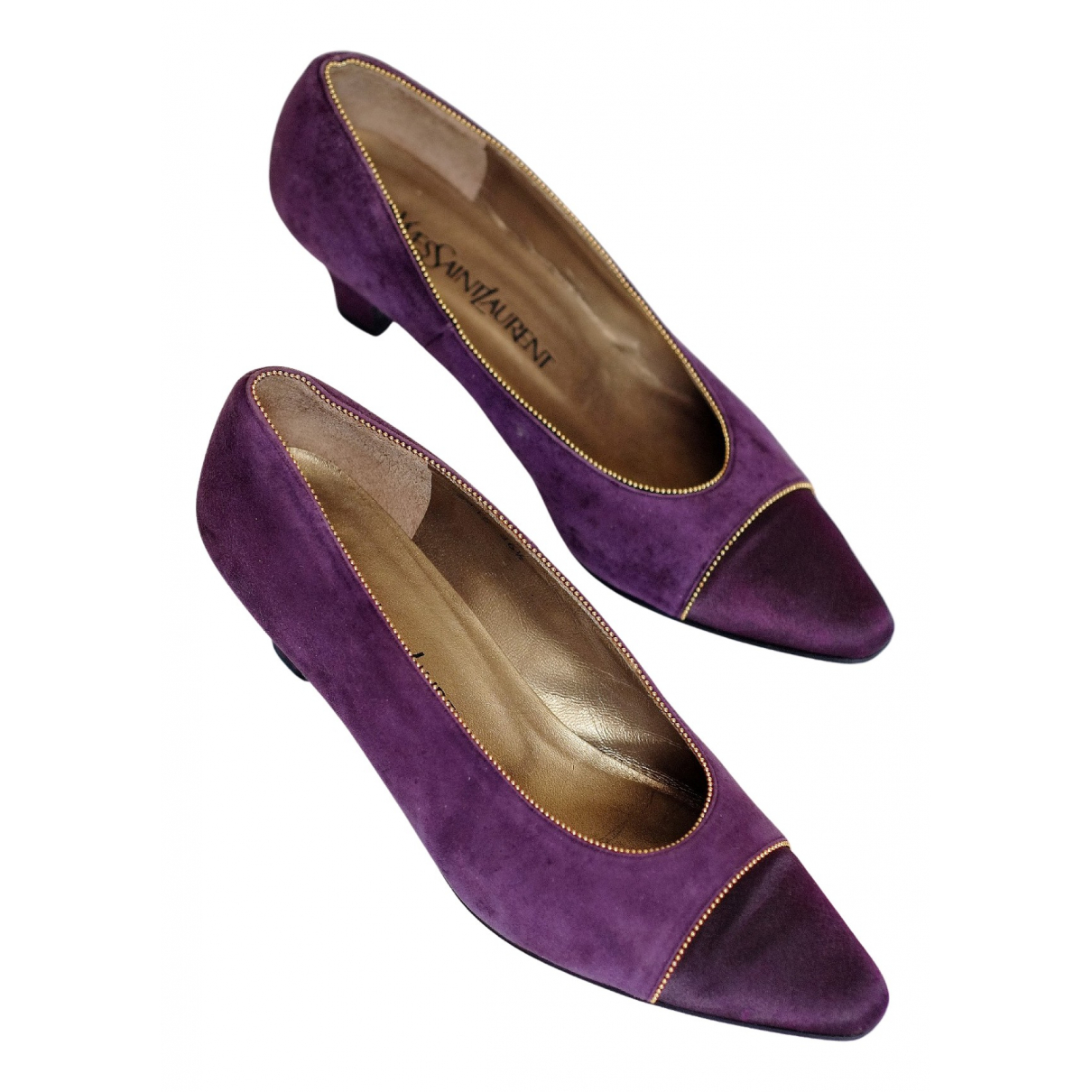 Yves Saint Laurent N Purple Suede Heels for Women 36.5 EU