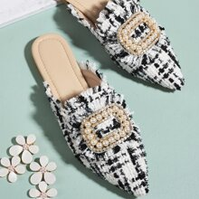 Faux Pearl Decor Tweed Loafer Mules