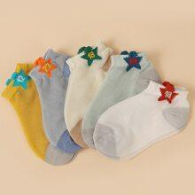 5 Stuecke Sock mit Stern & Nummer Grafik