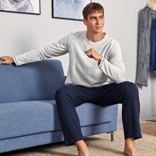 Conjunto de pijama de manga larga con estampado de slogan