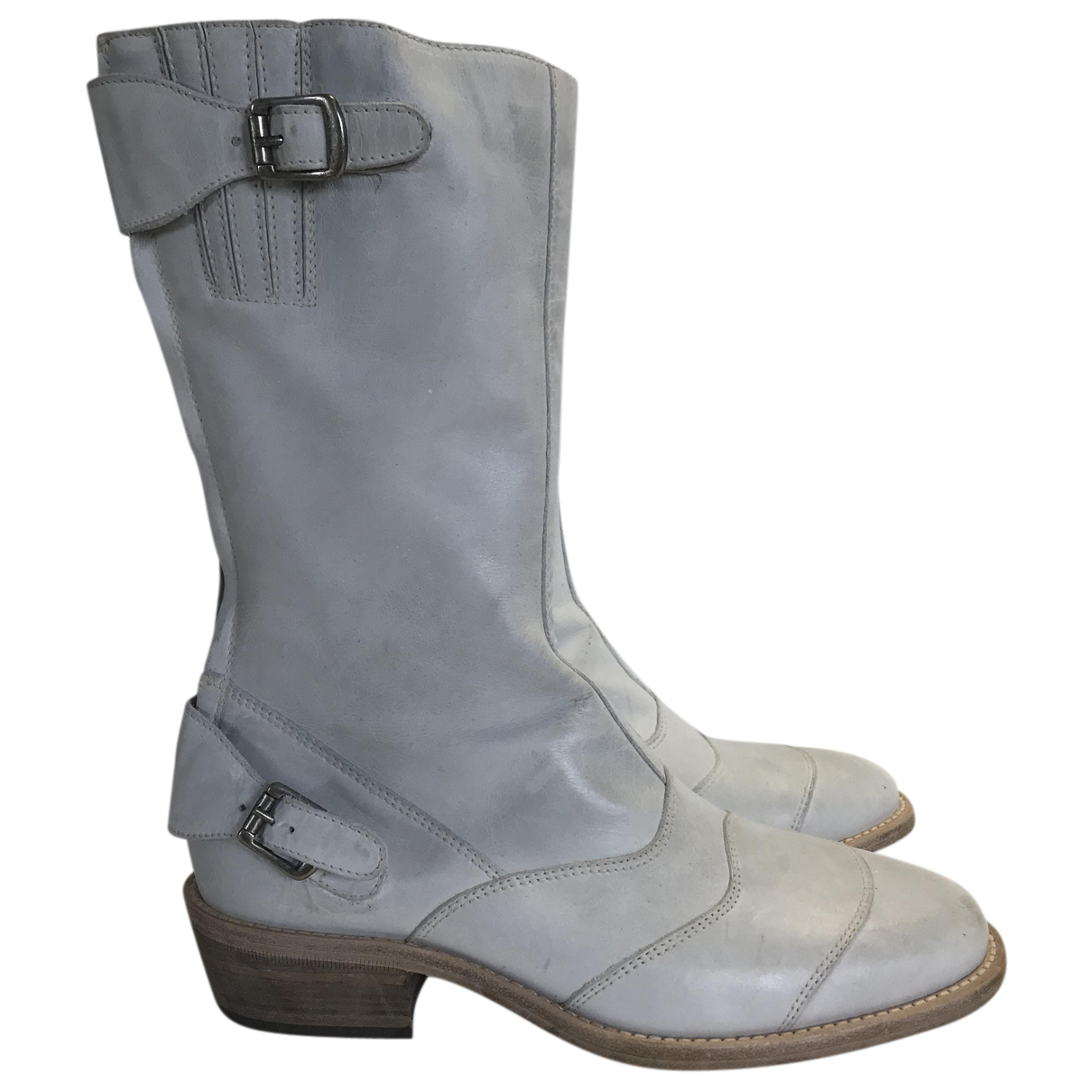 Belstaff N White Leather Ankle boots for Women 38 EU