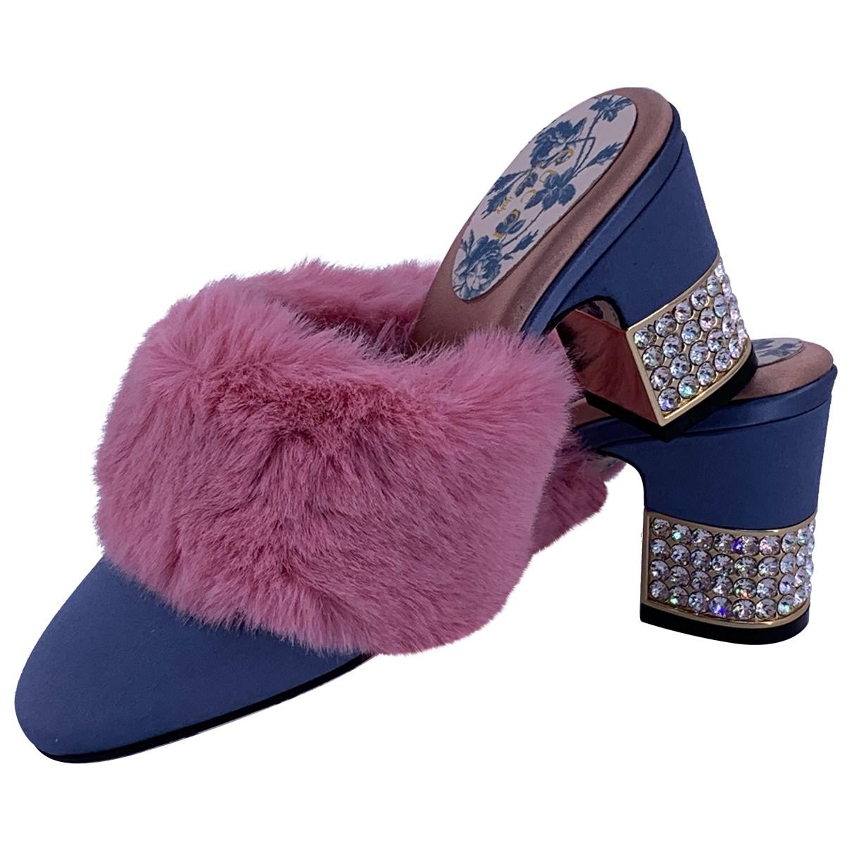 Gucci - Sandales   pour femme en fourrure synthetique - bleu
