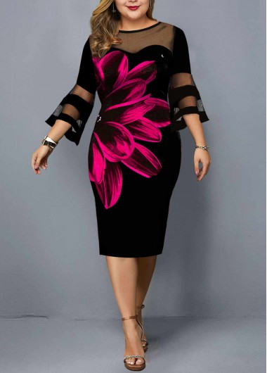 Rosewe Women Black Plus Size Floral Print Illusion Dress Flare Sleeve Sheath Knee Length Three Quarter Sleeve Elegant Cocktail Party Dress - 3X