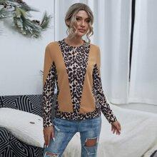 T-Shirt mit Farbblock und Leopard Muster