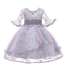Girls Embroidery Mesh Pearls Tie Back Gown Dress
