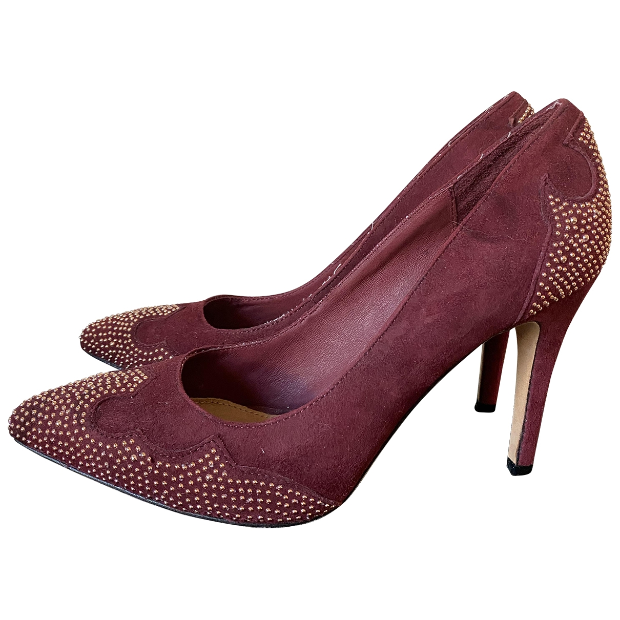 Non Signé / Unsigned \N Burgundy Suede Heels for Women 39 EU