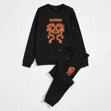 Pullover mit chinesischer Drache & Buchstaben Grafik & Jogginghose Set