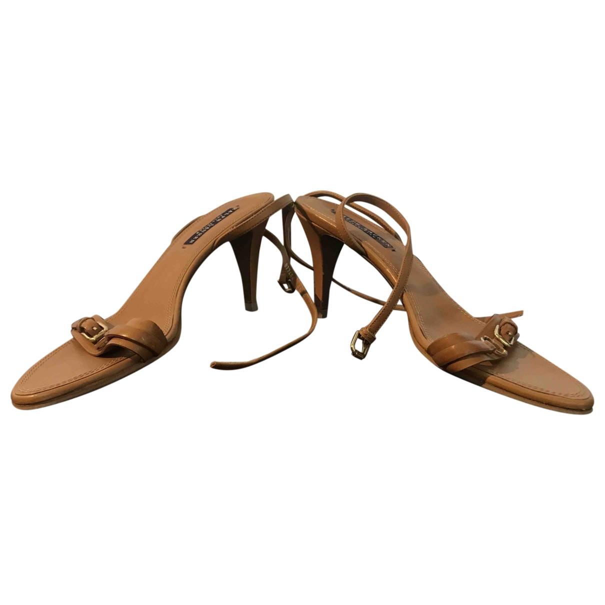 Ralph Lauren Collection - Sandales   pour femme en cuir - camel