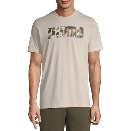 Puma Camo Mens Crew Neck Short Sleeve T-Shirt, Small , Beige