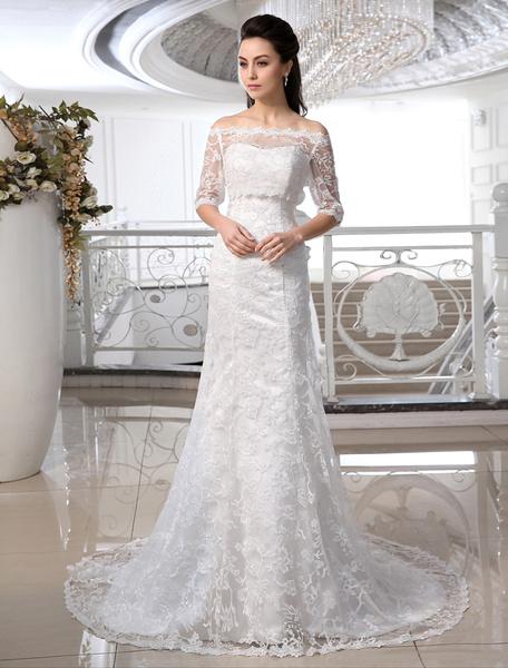 Milanoo Vestido de novia de encaje con escote en corazon de cola barrida