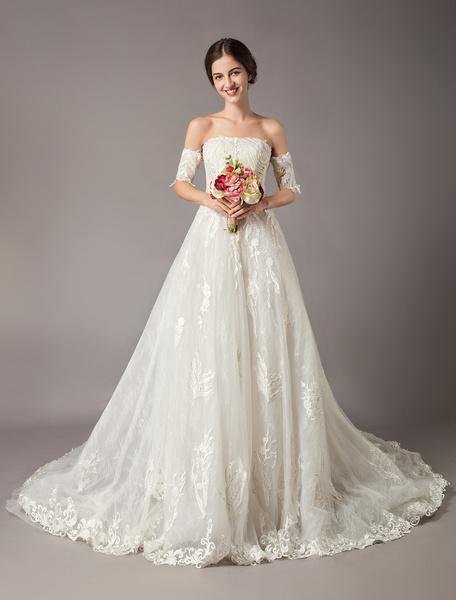 Milanoo Vestidos de novia de princesa Desmontable manga fuera del hombro de encaje sin tirantes de marfil capilla tren vestidos de novia