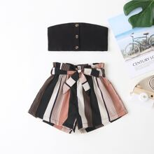 Toddler Girls Button Front Tube Top & Striped Belted Paperbag Shorts