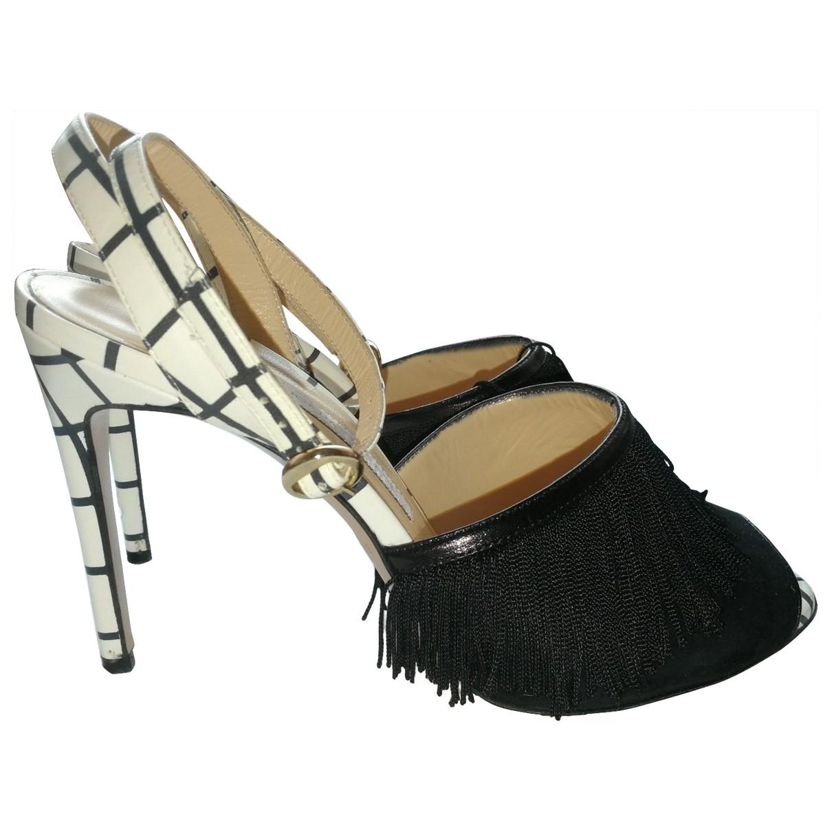Bionda Castana \N Black Leather Heels for Women 37 EU