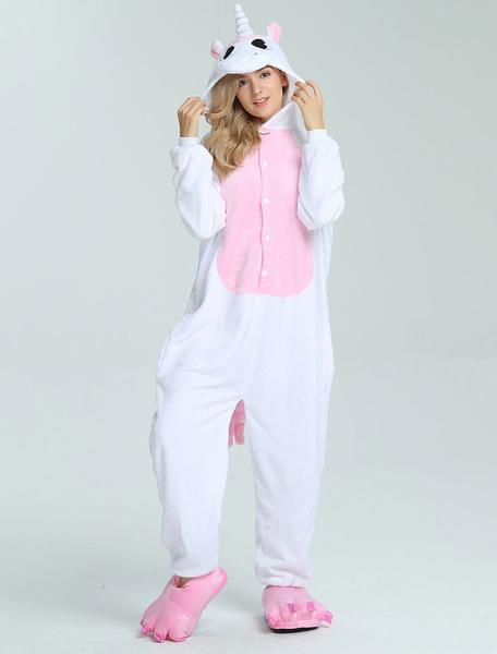 Milanoo Onesie Unicorn Kigurumi White Unisex Onesie For Adults Unisex Winter Sleepwear Animal Costume Halloween