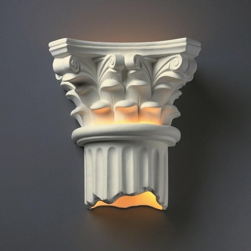 Strick & Bolton Wes Ceramic 2-light Column Sconce (Bisque)