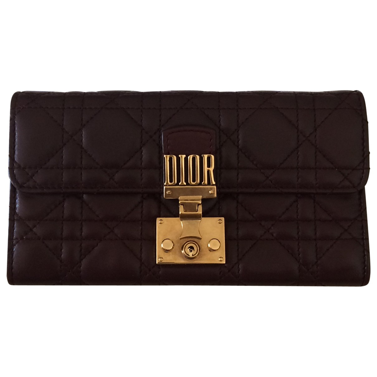 Dior - Portefeuille DiorAddict pour femme en cuir - bordeaux