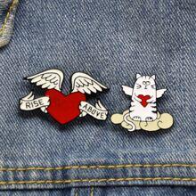 2pcs Wing & Heart Design Brooch