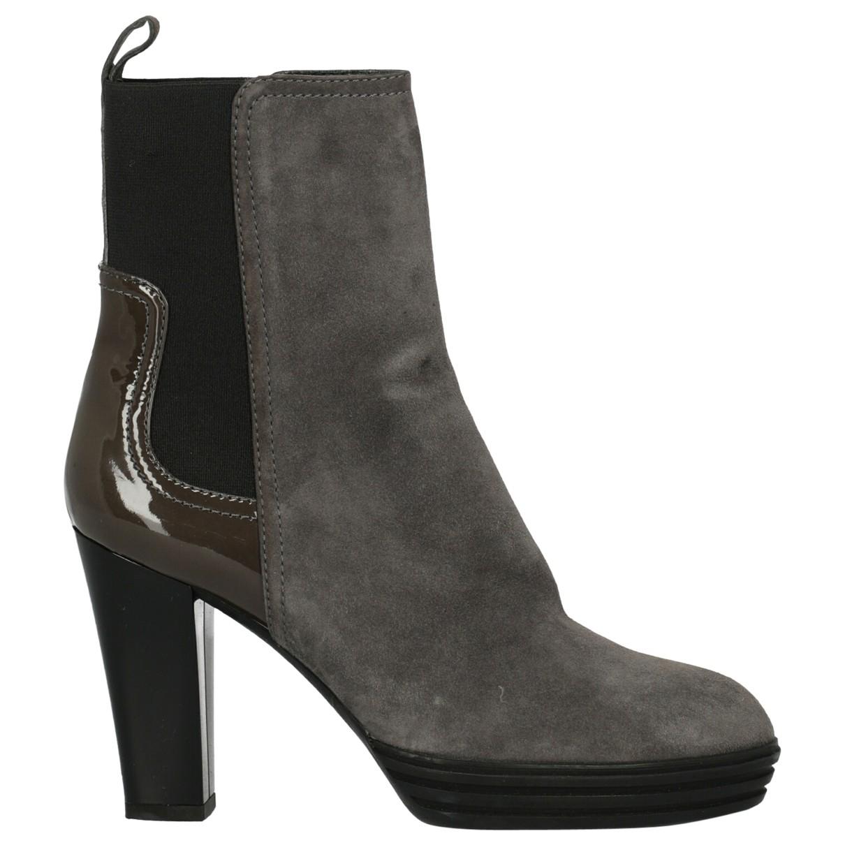 Hogan - Boots   pour femme en cuir - gris