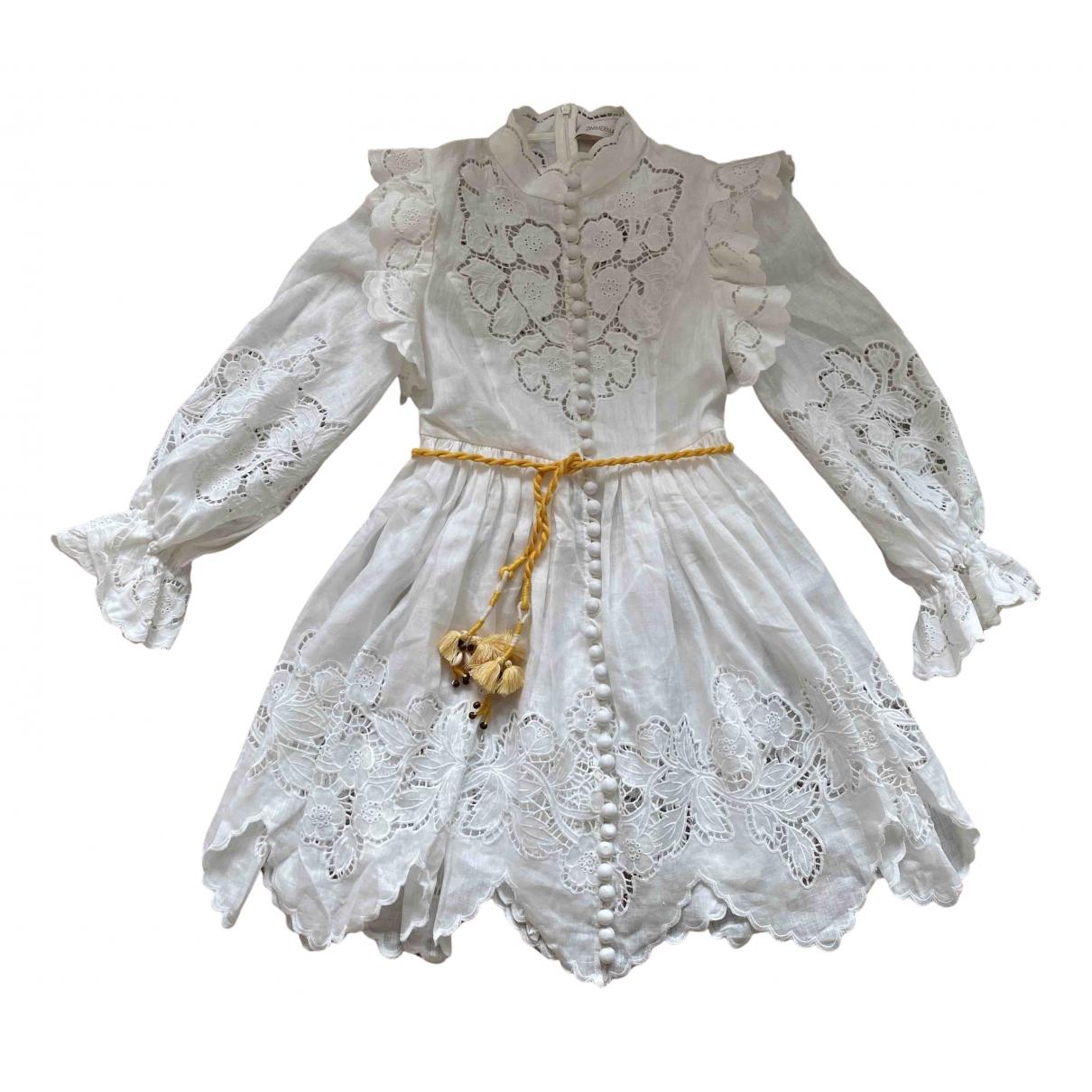 Zimmermann \N Kleid in  Weiss Leinen