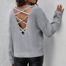 Lace Up Back Drop Shoulder Sweater