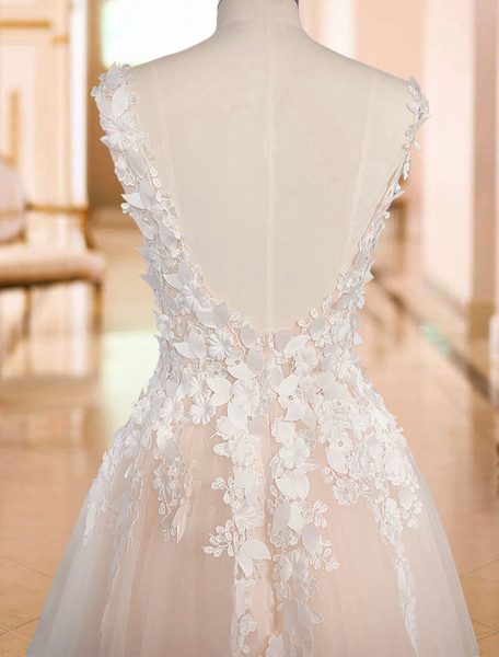 Milanoo wedding dresses 2020 tulle deep v neck a line sleeveless multilayer tulle lace applique classic bridal gowns with train