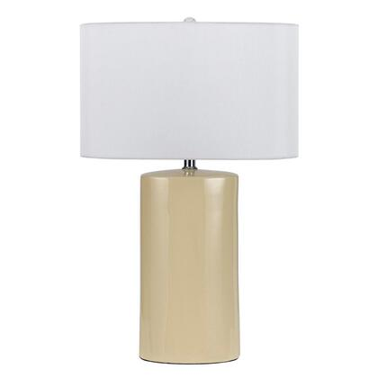 BM220853 Ceramic Table Lamp with Cylindrical Body  Set of 2  Beige and