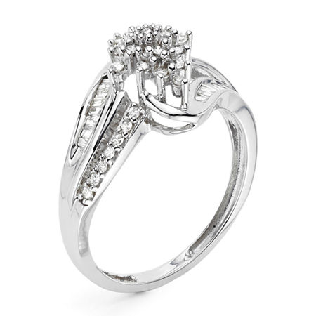 1/3 CT. T.W. Diamond 10K White Gold Cluster Ring, 6 , No Color Family