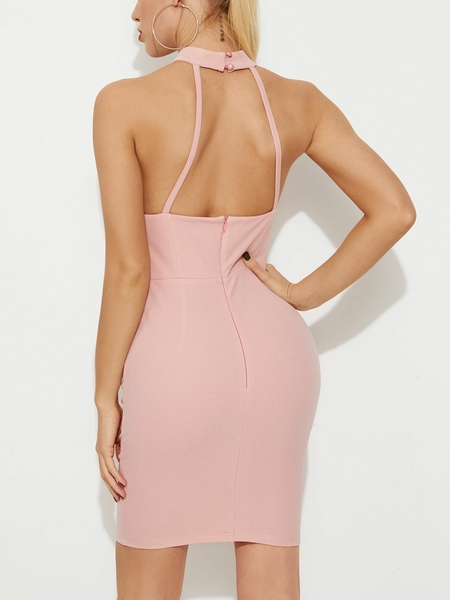 YOINS Pink Backless Cut Out Sleeveless Dress