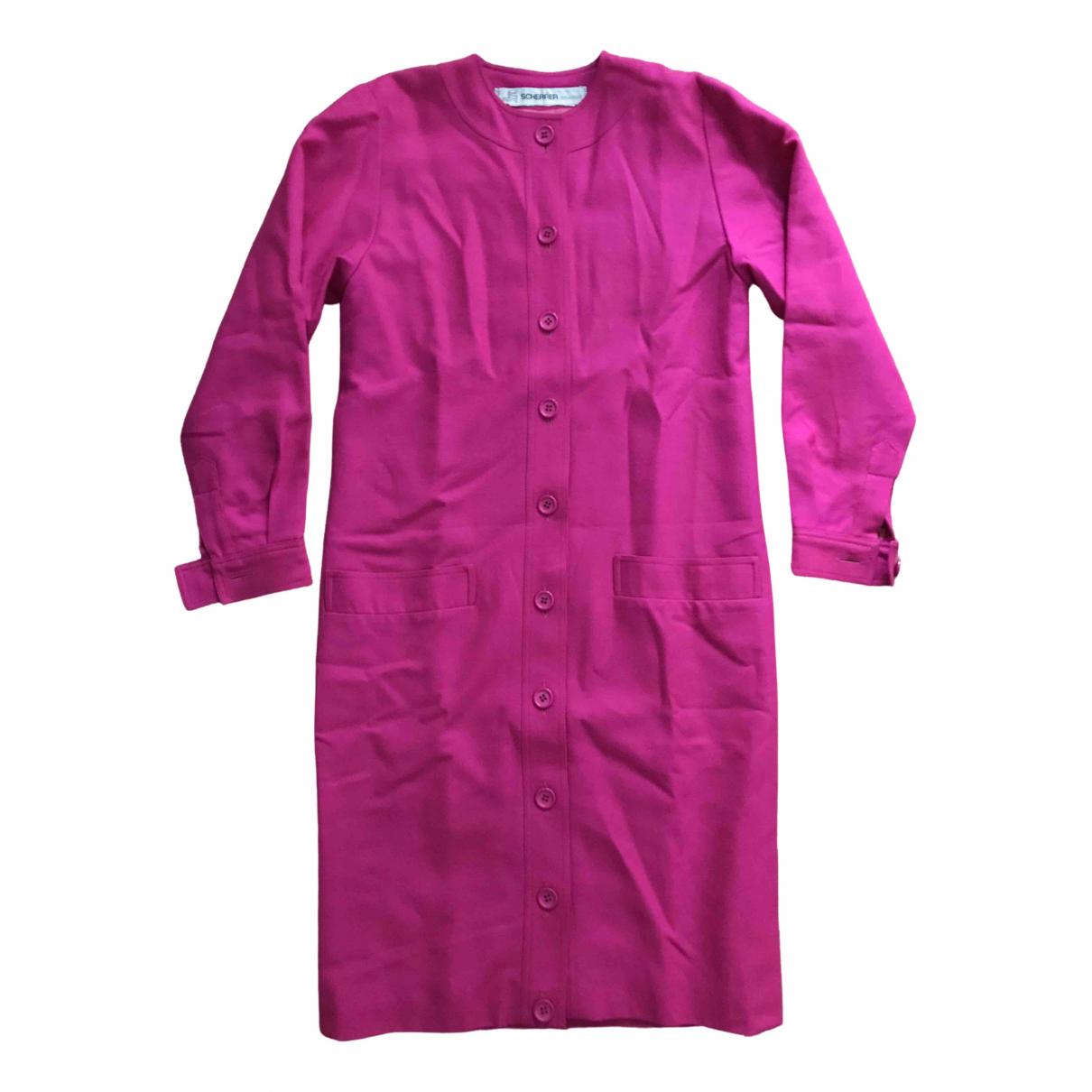 Jean-louis Scherrer - Manteau   pour femme en laine - rose