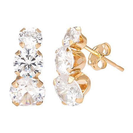 White Cubic Zirconia 10K Gold 13.6mm Round Stud Earrings, One Size , No Color Family