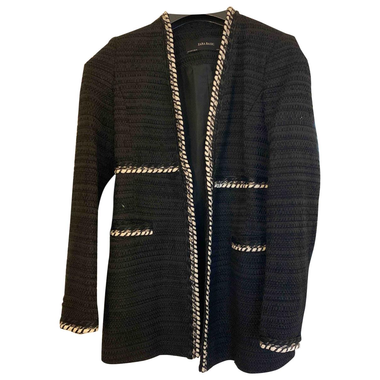 Zara - Veste   pour femme en tweed - noir