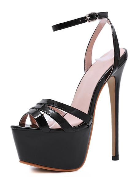 Milanoo Platform High Heel Sandals Womens Peep Toe Slingback Stiletto Heel Sandals