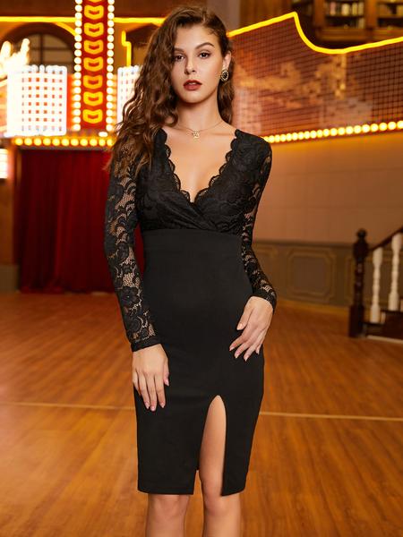 Yoins Black Lace Deep V Neck Dress